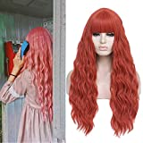 Peluca larga ondulada con flequillo de aire Pelucas sintéticas resistentes al calor para mujeres Peluca de reemplazo de cabello de 28 pulgadas de aspecto natural (28''naranja)