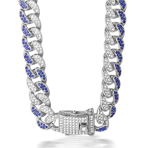 Halukakah Diamant Kubanische Kette für Männer,14MM Fuji Herren Goldkette Iced Out Miami Platin Weißgold Halsband Halskette 60cm,Voll Diamanten Blau & Klar Zinken-Set,Geschenk für Ihn