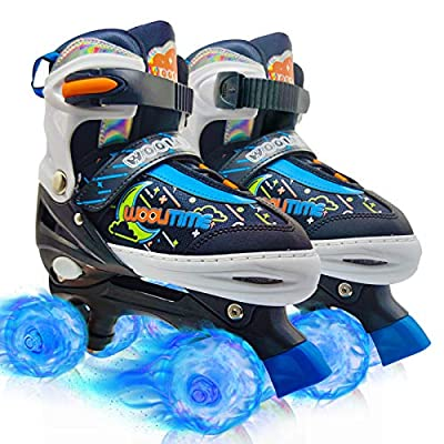 Woolitime Adjustable Roller Skates for Girls and Boys, 4 Size Adjustable for Kids, with All Wheels Light Up