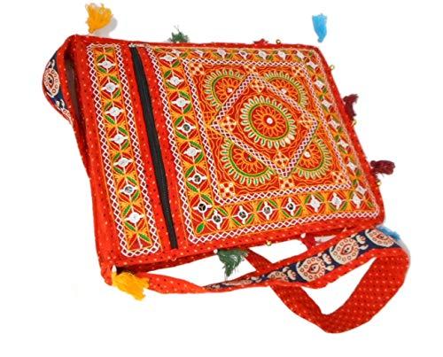 India Colors Bolso Cartera Portadocumentos Portafolios Carpeta Bolsa Partituras Regalo. Hecho a mano en India. (Naranja)
