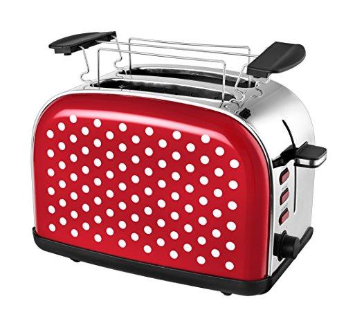 Team Kalorik 2-Scheiben-Toaster, Retro-Design, Separater Brötchenaufsatz, Integrierte Krümelschublade, 1050 W,  Rot/Weiß, TKG TO 1045 RWD