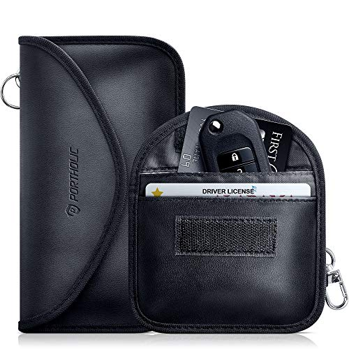Keyless Go Schutz Autoschlüssel, PORTHOLIC 2 Pack RFID Blocker Funkschlüssel Abschirmung Schlüsseltasche Signalblocker Strahlenschutz Autoschlüssel Tasche Etui Schlüsseletui Schutzhülle für Card