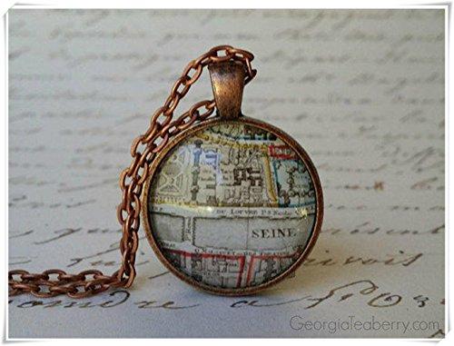 Halskette mit Paris-Karte, Elfhaus Old Paris, kuppelförmiger Glasschmuck, reine Handarbeit