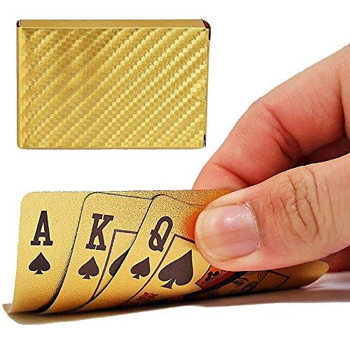 Kompassswc Luxus 24K Goldfolie Poker Spielkarten Kasino Profi Flexibel Pokerkarten Wasserdicht Kunststoff Kartenspielen (Karo-Type)