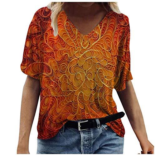 Camisetas Manga Corta Mujer Baratas, Casual T-Shirt con Estampado Verano Originales Suelto Cuello Redondo Tallas Grandes Tops Deporte Blusa Camisa de Vestir tee Shirts Basicas Ropa (#10 Naranja, S)