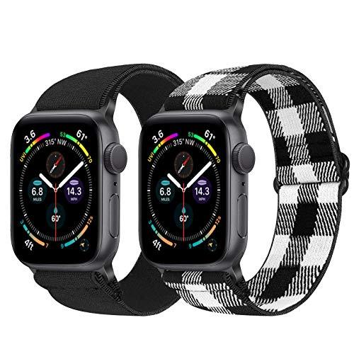 Vodtian Correa elástica ajustable para Apple Watch de 42 mm y 44 mm, correa elástica de nailon para reloj de pulsera para iWatch Serie 6/5/4/3/2/1, SE (42 mm/44 mm, negro, blanco y negro)