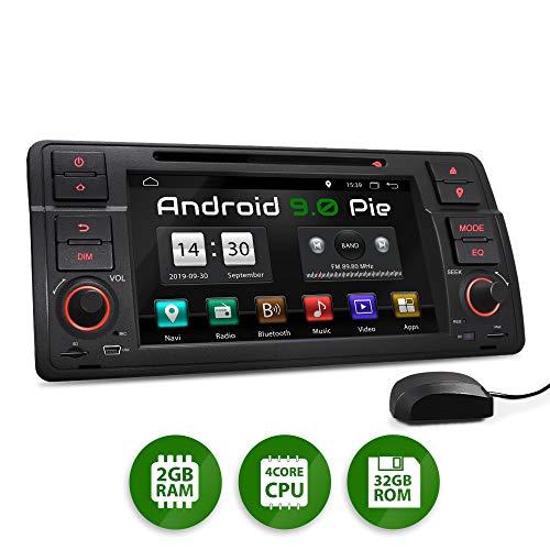 XOMAX XM-70BA Radio de Coche con Android 9 Adecuado para BMW I Quad Core, 2GB RAM, 32GB ROM I GPS I Soporte WiFi, 3G, 4G, Dab+, OBD2 I Bluetooth I 7' Pantalla Táctil I DVD, CD, USB, SD, RDS