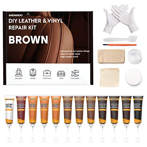 NADAMOO Leather Repair Kit for Couches, Repair Kit for Furniture, Car Seats, Sofa, Jacket, Shoes, Boat - Vinyl Leather Recolor Balm Leather Dye Leather Scratch Repair DIY Fix Kit Brown Serial
