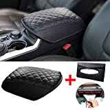 SmithCOCO Upgraded Center Console Cover Compatible for Ford Explorer SUV 2011-2019, Black PU Leather Anti-Slip Armrest Cover for More Comfortable Driving and More Unique Cushion with Car Tissue Holder