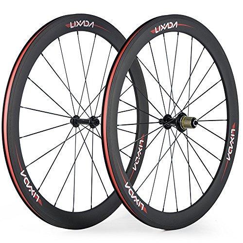 Lixada Ruedas Bicicleta de Fibra de Carbono Completa 50 mm 700C Wheelse 8/9/10/11 Velocidades Compatibles 20/24 Agujeros