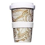 Mahlwerck Kaffeebecher to go, Porzellan Coffee-to-go Becher mit auslaufsicherem Deckel, Boho Motiv in Gold-Weiß, 400 ml