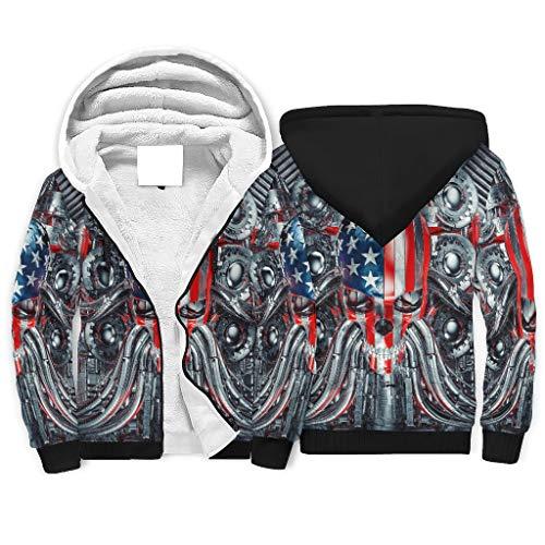Tentenentent - Sudadera con cremallera para hombre y mujer, diseño de calavera azul, con bolsillo de canguro, cómoda chaqueta de entrenamiento, color blanco, 2 m