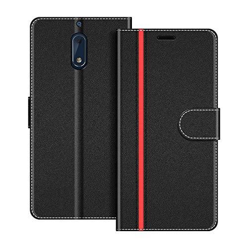 COODIO Handyhülle für Nokia 6 Handy Hülle, Nokia 6 Hülle Leder Handytasche für Nokia 6 Version 2017 Klapphülle Tasche, Schwarz/Rot