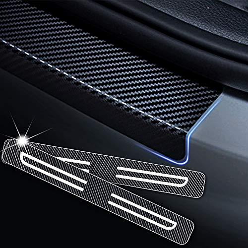 4D Carbon Einstiegsleisten Folie, Lackschutzfolie Selbstklebend, Lackschutz Aufkleber für Celerio Swift Baleno Jimny Vitara S-Cross Weiß 4 Stück