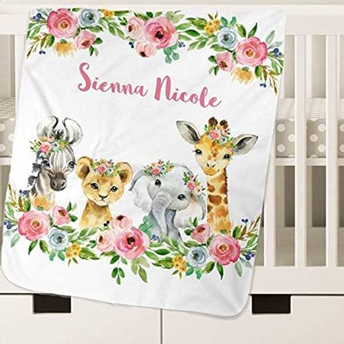 Personalized Safari Blanket Limited Special Price for Girls Fleece Blan Boys Soft trust Baby