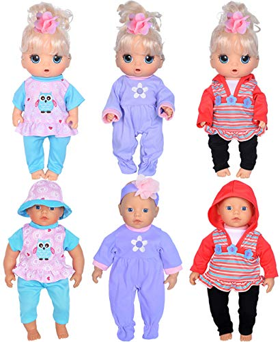 Total 7pcs Doll Playtime Outfits Clothes for 10-12-13 Dolls,10-inch Baby Dolls /12-inch Alive Baby Dolls New Born Baby Dolls