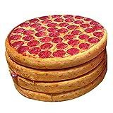DDGOD Pizza Stuhlkissen 4er-Set Runde Kissen Werfen Küche Stuhlauflage Stuhlkissen Tatami...
