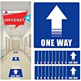 Cinsey 20 Pack Pegatina Flechas Adhesivas Suelo Azul,25 * 25cm Vinilo Autoadhesivo One Way Pegatinas de Seguridad para Indicación Recorrido Seguridad