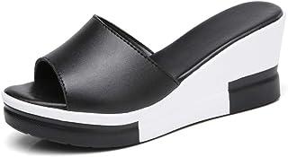 Pantofola Sandalo Tipo Ciabatta,Scarpe da Donna di Piccole Dimensioni con Tacco Inclinato, Sandali Casual con Plateau e Pa...
