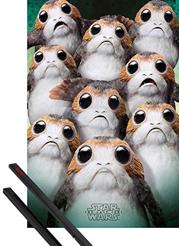 1art1 Star Wars Poster (91x61 cm) Episode VIII Die Letzten Jedi, Viele Porgs Inklusive EIN Paar Posterleisten, Schwarz
