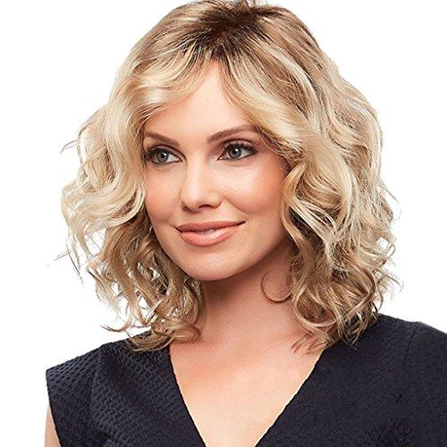 Nouveau wyt femmes mode court blond bouclés perruques côté partie cheveux ondulés épaule longueur occasionnel