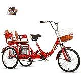 FGVDJ Triciclo para Adultos para Padres Bicicleta de 3 Ruedas con Asiento Trasero agrandado + Canasta Puede traer Dos niños Triciclo Amortiguador de Doble Cadena