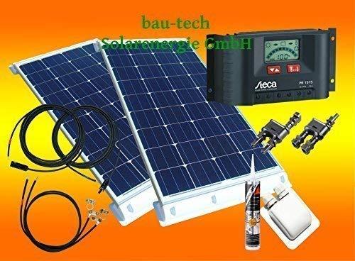 bau-tech Solarenergie 200 Watt Wohnmobil Solaranlage 12 Volt Set mit Steca LCD Laderegler GmbH