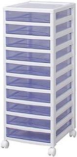 アイリスオーヤマ チェスト スーパークリア 10段 日本製 幅32×奥行39×高さ83.2cm ホワイト / クリアブルー 白 プラスチック SCE-S1000