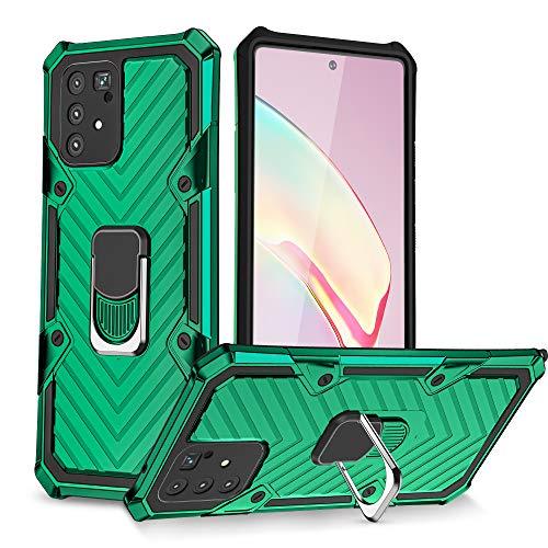 UCASE Funda Compatible para Samsung Galaxy S10 lite/A91/M80s Carcasa Case Soporte de Anillo Metal PC Rígido+TPU Soft Anti-caída Dactilares Magnética Cover[2020 Upgrade] Verde Oscuro