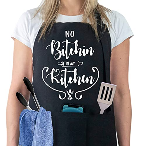 No Bitchin in My Kitchen - Funny Aprons for Women with 3 Pockets - Adjustable Kitchen Chef Aprons for Cooking Baking - BBQ Apron Gifts for Her, Mom, Wife, Grandma, Girlfriend
