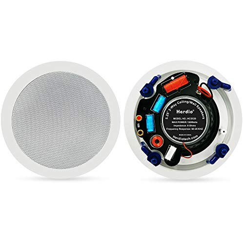 Herdio 5.25 Inches in Ceiling Wall Flush Mount Speakers 8Ohm