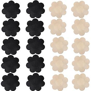 Nippleless Cover 20 Pairs Self-Adhesive Disposable Bra Gel Petals Pad Pasties  Beige 10 Pairs + Black 10 Pairs