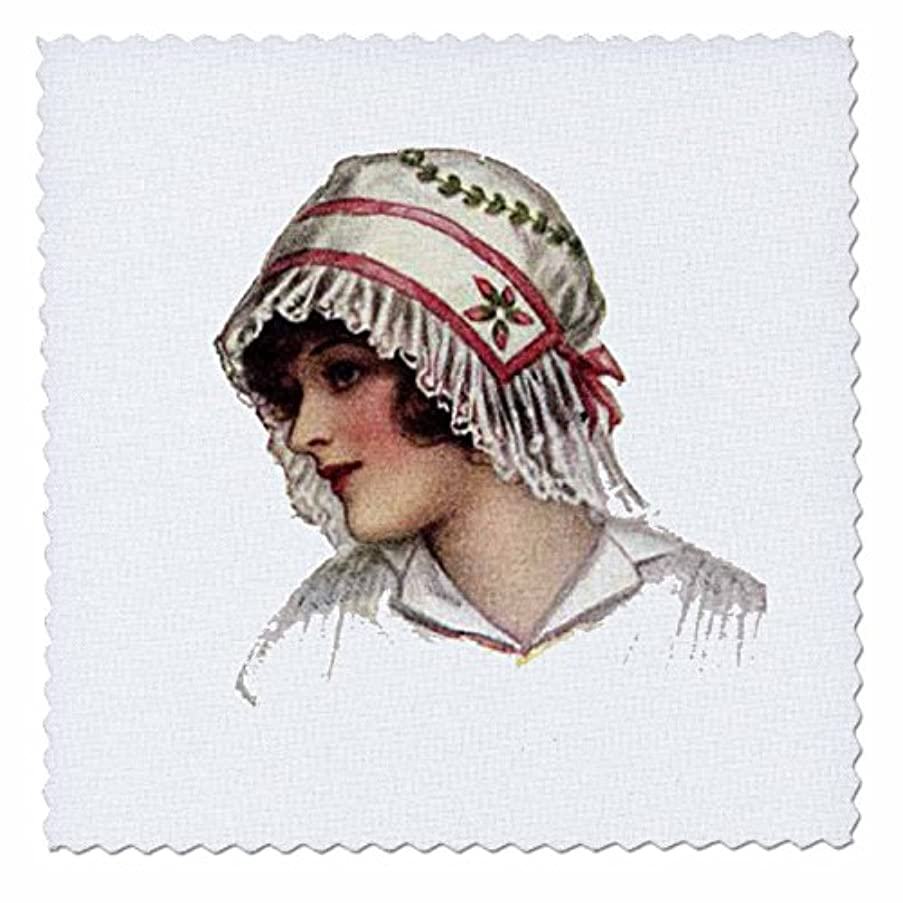 3dRose qs_6281_1 Victorian Lady with Lace Bonnet Quilt Square, 10 by 10-Inch