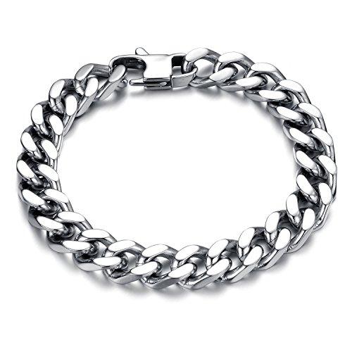 Bracelet Homme Acier Inoxydable Bijoux Hommes Poli Finition Gothique Punk Rock Lien Poignet Gourmette Bracelet chaîne Argent avec boîte-cadeau (12mm)