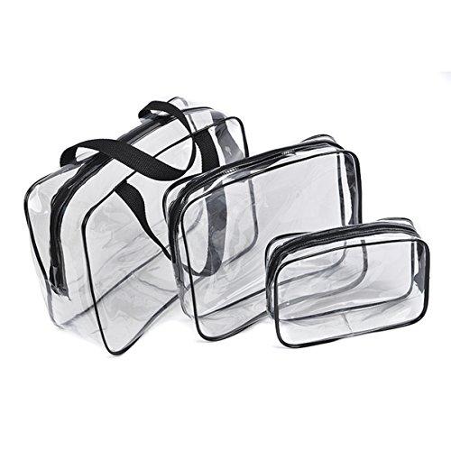 Txian - Set con 3 beauty case trasparenti in PVC, impermeabili, con cerniera, ideali come trousse da viaggio, per attività sportive e all'aperto, escursioni