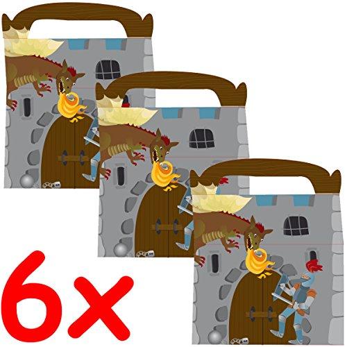 6 Geschenk-Boxen * RITTER * mit Tragegriff für Kindergeburtstag oder Motto-Party // Kinder Geburtstag Geschenktüten Mitgebsel Mitgebseltüten Tüten Geburtstagstüten Motto Geschenk Box Knight