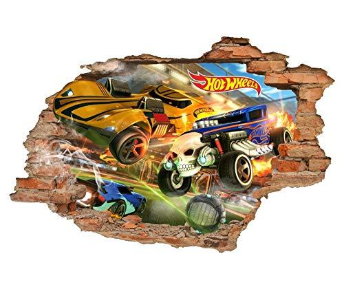 3D Look Wandtattoo Wheels 3D Wandtattoos, Auto, Spielzeug Wandaufkleber, entfernbare Vinyl Aufkleber