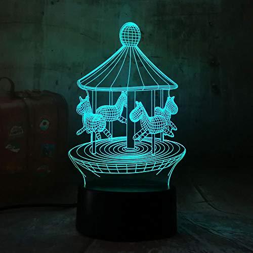 Romantisches Karussell 3D Führte 7 Farben-Änderungs-Tabellen-Lampen-Nachtlicht-Dekorations-Schlafzimmer-Neues Glanz-Feiertags-Braut-Geschenk Mit Fernbedienung