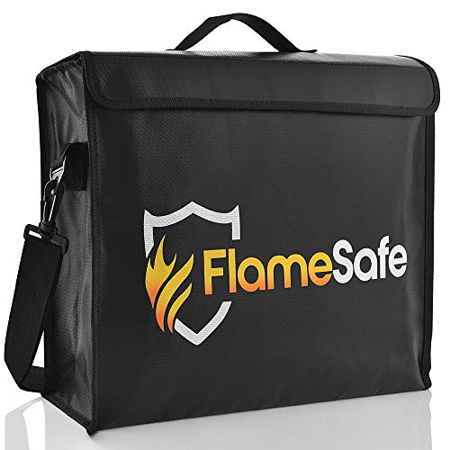 "FlameSafe XL Premium Fireproof Document Bag (16""x12""x 4"") New Non-Itch Triple Layer Silicone Fiberglass Protection With Upgraded Heavy Duty Zipper. Fireproof Waterproof Document Holder And Money Safe"