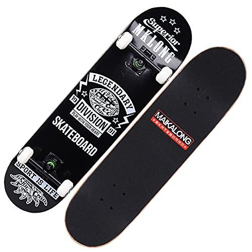 VOMI Monopatín Principiantes con Rodamientos ABEC-9, Tabla Skate Double Kick Patineta Completo de 78,5 x 20 cm, 7 Capa Madera Arce Tabla Skateboard Trick para Niños Jóvenes Adultos,Negro