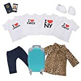 Adora Amazing Girls 18' Doll Clothes - 4 T-Shirts Suitcase, Sneakers, Jacket Pants, Passport, Cell Phone (Amazon Exclusive)