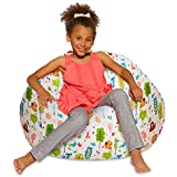 Big Comfy Bean Bag Chair: Posh Large Beanbag Chairs with Removable Cover for Kids, Teens and Adults - Polyester Cloth Puff Sack Lounger Furniture for All Ages - 38in Large Bean Bag - Pink and White