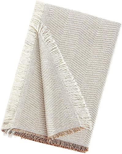 EURASIA - Copriletto multiuso per divano stampato spiga - Plaid multiuso per letto - Foulard ideale per divani e letti (beige, 180 x 260 cm)