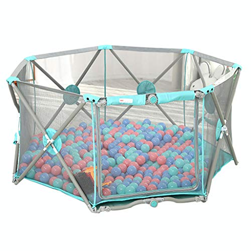 Find Discount Portable Baby Fence Heptagon Baby Playpen with Play Pen Puzzle Play Mats, Strong and D...