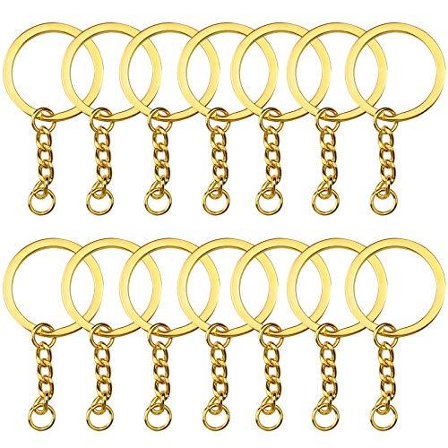 YapitHome, 60 anelli portachiavi divisi con catena e anelli di salto, anelli in metallo con anelli aperti per chiavi e artigianato artistico (dorato)