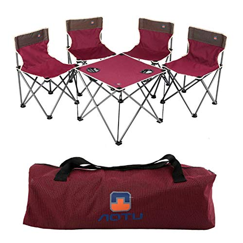 ALTERDJ Klapptisch Campingtisch Set mit 4 Klappstühle Oxford-Stoff Klapptisch Campingmöbel schnell aufgebaut für Gartentisch Falttisch Reisetisch Camping Wein Rot (Oxford-Stoff)