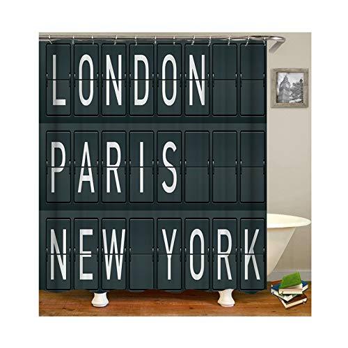Daesar Cortinas de Ducha Antimoho y Lavables London Paris New York Cortina Baño Poliester Verde Oscuro Cortina de Baño 150x180 CM