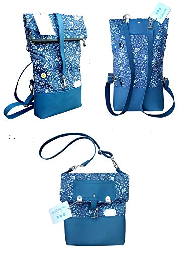 Small backpack 2 in 1 made of Jeans and leather. Shoulder bag with backpack function.Bag with Turkish cucumber pattern. Zippered pocket