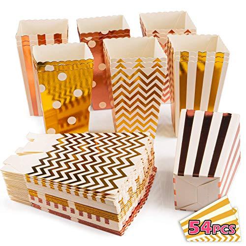 VIBIRIT Paquete de 54 Cajas de Palomitas de maíz, cartón de Grado alimenticio Contenedor de Dulces Snack Party Bags Pequeña Caja de Regalo Contenedor de cartón para la Fiesta de Bodas de Navidad