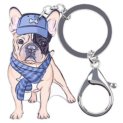 BONSNY French Bulldog Dog Keyring Handbag Backpack Charm Gift Animal Pet Tag Decoration (Blue)